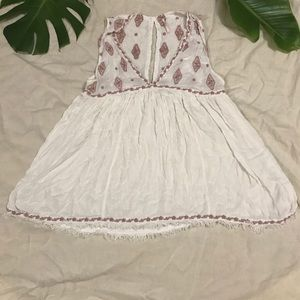 Free people baby doll dress white and pink